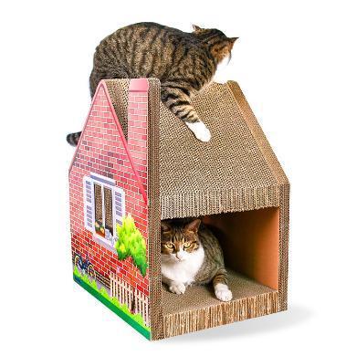 得酷 瓦楞纸猫房?#29992;?#31389;别墅式猫抓板猫磨爪玩具猫咪宠物用品