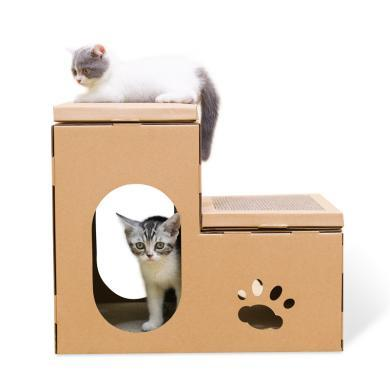 得酷 diy喵星人用品瓦楞纸猫屋双层房?#29992;?#25235;板猫咪磨爪玩具猫窝