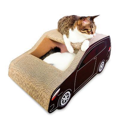 得酷貓窩SUV車形瓦楞紙貓抓板貓磨爪玩具貓咪寵物用品送貓草
