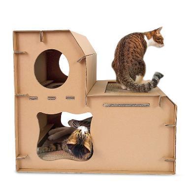 得酷 瓦楞纸diy猫?#20811;?#23618;?#28363;?#32452;合猫屋猫别墅猫抓板猫咪磨爪玩具