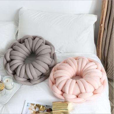 ins爆款 新款純手工環形打結抱枕 個性環形 甜甜圈枕 含芯靠枕