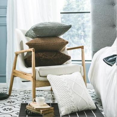 ?#32622;?#32447;针织?#31354;?家居软装配饰 抱枕套 北欧风抱枕套 不含芯