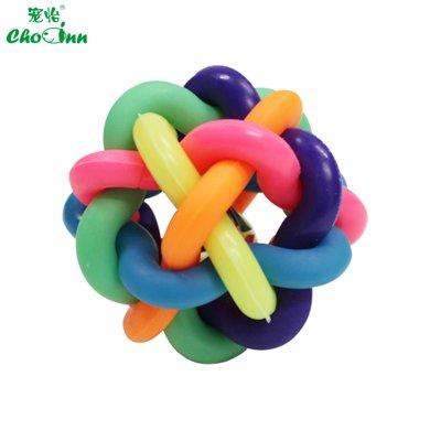 宠怡宠物玩具七彩铃铛编织橡胶球 ?#39277;?#29483;咪玩具球 猫狗玩具