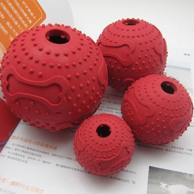 紅腳丫橡膠骨紋漏食球(6.0CM)