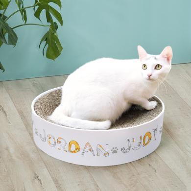 佐敦朱迪圆形猫抓板 瓦楞纸磨爪器猫咪玩具盆碗型大号猫窝猫咪用品