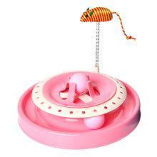 Kimpets 猫咪玩具弹簧老鼠猫转盘 单层式逗猫转盘球玩具剑麻老鼠猫转盘