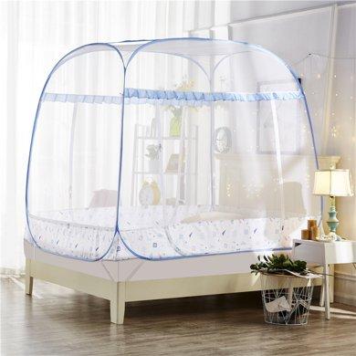 (全底帳紗設計)米卡多蚊帳免安裝蒙古包床鋼絲賬方頂拉鏈1.5米三開門1.2學生宿舍