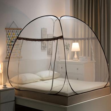 羽芯家紡 免安裝蒙古包蚊帳雙開加密加厚防蚊拉鏈有底學生 家用蚊帳