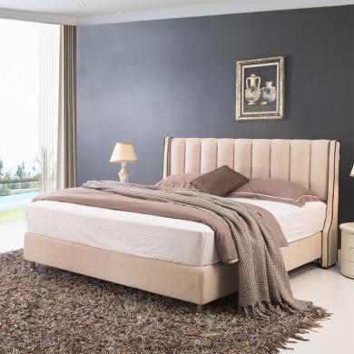 皇家愛慕現代簡約時尚布藝軟床婚床 棉麻布藝
