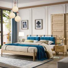 皇家爱北欧风格实木床1.5米双人床简约现代主卧室1.8米白蜡木床