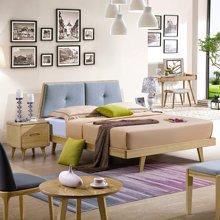 皇家爱慕北欧卧室双人实木床现代简约布艺带软靠主卧白蜡木床