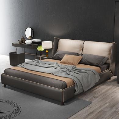HJMM轻奢网红床主卧室现代简约大气北欧真皮床双人床1.8米高档婚床