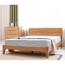 HJMM?#30340;?#24202;橡木双人床环保卧室家具北欧现代简约