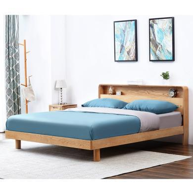 HJMM實木床橡木雙人/單人床環保北歐現代臥室家具