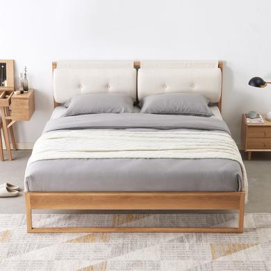 優家工匠 北歐實木床簡約現代1.5米1.8米主臥軟靠雙人床橡木床臥室家具