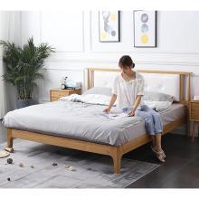 HJMM北欧床软靠背婚床白橡木床1.5米单人床1.8米双人大床