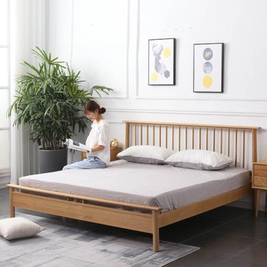 HJMM北欧简约实木床主卧ins小户型橡木竖条床双人床