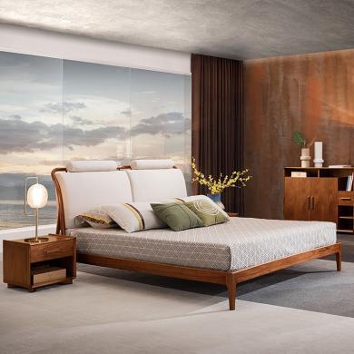 HJMM现代极简胡桃木实木大床 布艺床 中式实木床1.8/1.5米