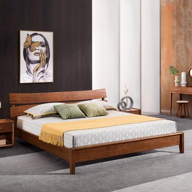 HJMM新中式实木床极简胡桃木双人1.8m1.5米高箱储物婚床