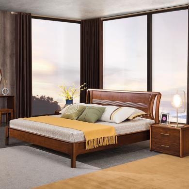 HJMM新中式全实木极简胡桃木实双人1.8m1.5米高箱储物中式婚床