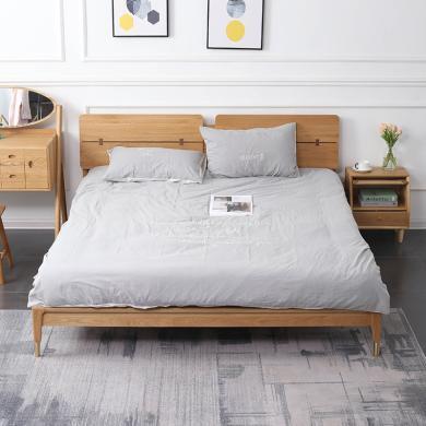 HJMM床 北歐實木床 橡木雙人床1.8米1.5米臥室大床輕奢家具