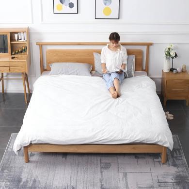 HJMM北欧简约实木床主卧ins小户型橡木床双人床
