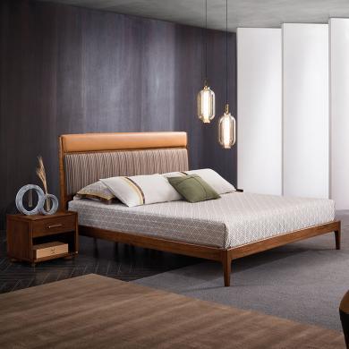 HJMM新中式全实木床现代极简胡桃木双人床布艺床中式婚1.8m1.5米