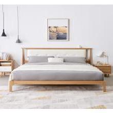 优家工匠 简约实木床主卧橡木床1.5米1.8米软靠床双人床卧室家具