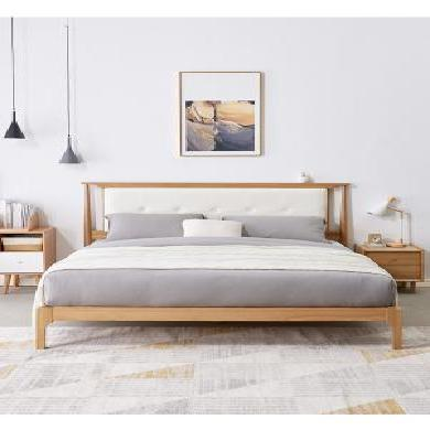 優家工匠 簡約實木床主臥橡木床1.5米1.8米軟靠床雙人床臥室家具
