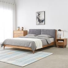 优家工匠北欧实木床卧室可拆洗软靠橡木床1.8米成人靠背双人床
