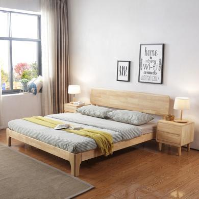 HJMM北欧现代橡木实木大床原木色胡桃色1.8m1.5米