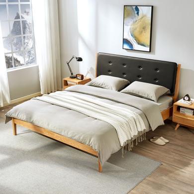 优家工匠实木家具北欧实木橡木床1.5米1.8米软靠双人床主卧床经济型卧室家具