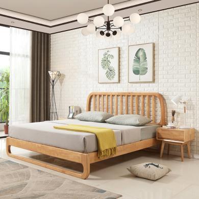 HJMM北欧实木床1.8米1.5m双人床现代简约户型主卧橡木婚床软靠