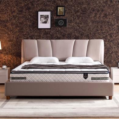 HJMM简约时尚真皮双人1.8m/1.5米经典豪华大床高箱储物软床可定制颜色