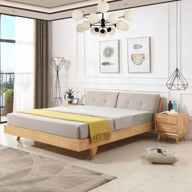 HJMM北歐實木床1.8米1.5m雙人床現代簡約戶型主臥橡膠木