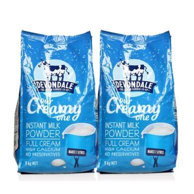 【支持购物卡】【2袋】澳洲德运Devondale高钙全脂成人奶粉1kg/袋 学生奶粉 营养牛奶香港直邮