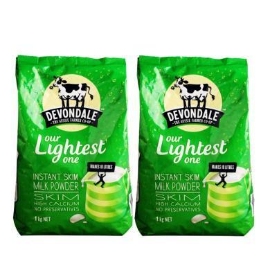 【支持購物卡】【2袋】澳洲德運Devondale高鈣脫脂成人奶粉 營養牛奶1kg/袋 香港直郵