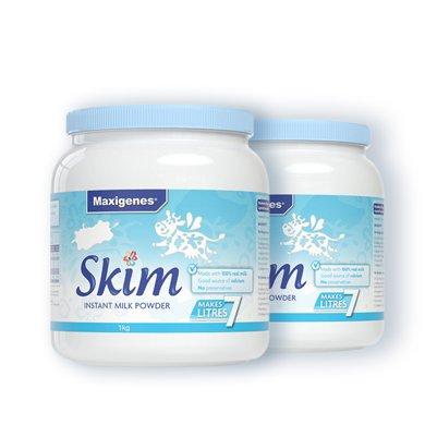 2罐*澳洲美可卓脱脂奶粉 蓝胖子脱脂奶粉Maxigenes高钙脱脂奶粉美可卓(适合婴幼儿除外的所有人群) 1kg【香港直邮】