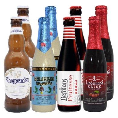 【新貨到柜 日期新鮮,女士喜愛啤酒組合】比利時進口 淺粉象 福佳 樂曼 林德曼共8瓶 330ml*4 + 250ml*4