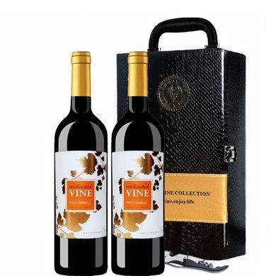 澳洲原瓶進口紅酒 魔幻葡葉干紅葡萄酒 雙支禮盒裝(送禮)
