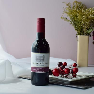 法國進口 小支紅酒查爾斯美思梅洛紅葡萄酒 250ml*1