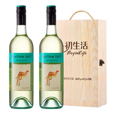 Yellow Tail 黄尾袋鼠 澳大利亚 黄尾袋鼠莫斯卡托甜白葡萄酒 750ml (澳洲进口)(2支木盒装)