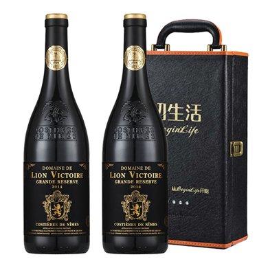 勝利雄獅 金獅金獎干紅葡萄酒750ml 12個月橡木桶陳釀 醒酒時間30分鐘以上(2支皮盒裝)