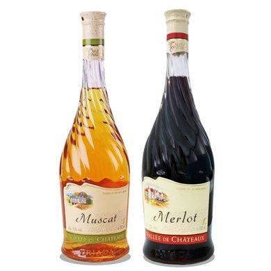 原瓶進口紅酒 萬德古堡慕斯卡甜白+梅洛紅葡萄酒原瓶進口750mlX2 紅白各一瓶