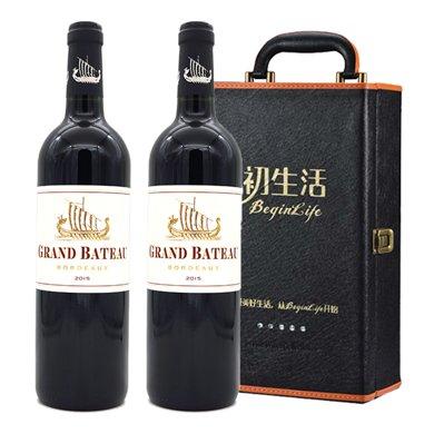 法國大牌 波爾多AOC GRAND BATEAU 小龍船 干紅葡萄酒750ml(雙支皮盒裝)