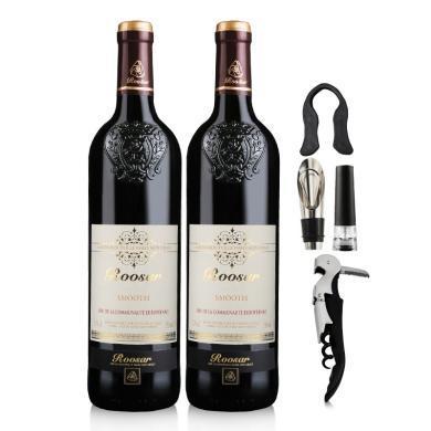法國進口紅酒 羅莎干紅葡萄酒(柔順版)2支裝送酒具套裝750ml*2