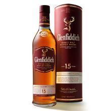 格蘭菲迪(Glenfiddich)進口洋酒純麥威士忌 蘇格蘭達夫鎮單一麥芽威士忌 15年 700ml
