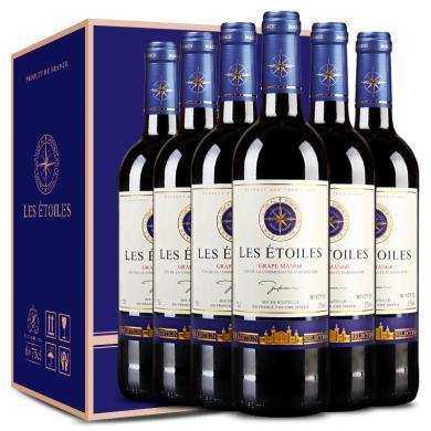法國原瓶進口紅酒 八角星干紅葡萄酒禮盒750ml整箱6支裝