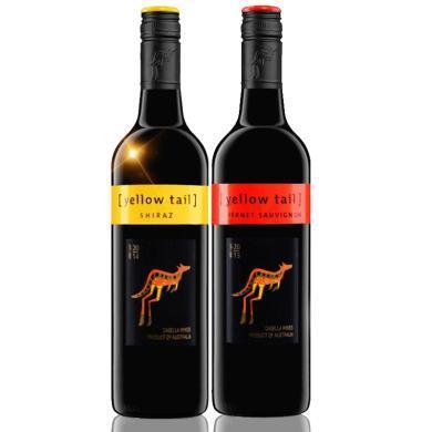 澳大利亚进口红酒 黄尾袋鼠(Yellow Tail)红葡萄酒 750ml 赤霞珠*1 西拉*1