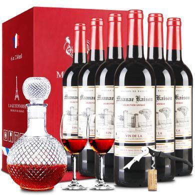 法国原瓶进口 红酒曼拉维凯旋干红葡萄酒礼盒 750ml 整箱6支装